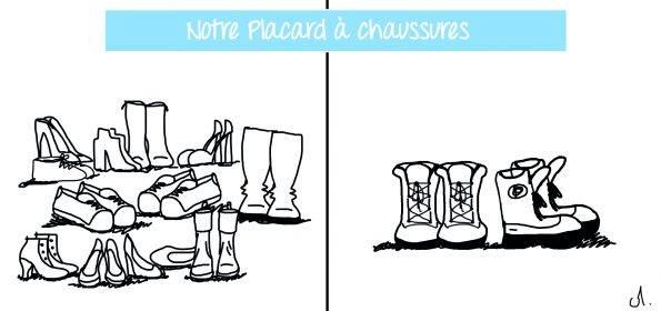 placard à chaussures Paris vs. Montréal